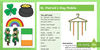 St. Patrick's Day Mobile Step-by-Step Instructions - KS1& 2 St Patrick's Day UK March 17th 2017, St Patrick, St Patrick's Day, decoration, instructions