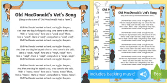 Old MacDonald's Vet's Song - EYFS Pets, Animals, National Pet Month, singing, song time, animal care, vet, vets, vet's, old macd