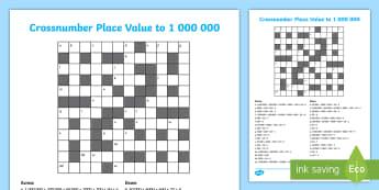UKKS Crossnumber Place Value Activity Sheet - UKS2 Crossnumber Place Value Activity Sheet - Crossword, Across, Down, Dienes, place value, workshee