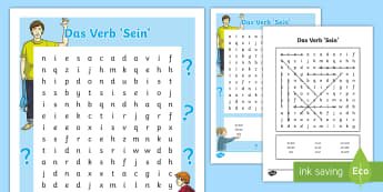 Verb 'To Be' Conjugation Word Search German - German, Grammar, to be, conjugation, verb