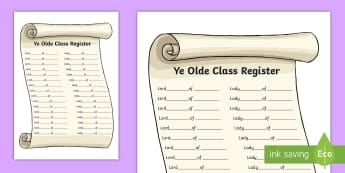 Ye Olde Class Register - ye olde, class register, registration, registering, old, the old, knight, medieval, time, history