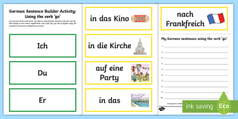 Verb Go Sentence Builder Activity - German, Verbs, Grammar, Verben, Languages, Sentences, Basic Phrases
