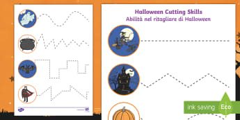 Halloween Themed Scissor Skills Activity Sheets English/Italian - Halloween, october, festival, autumn, celebration, spooky, ghosts, witch, zombies, worksheet, activi