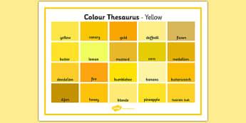 Colour Thesaurus Word Mat Yellow - colour thesaurus, colour, thesaurus, word mat, word, mat, yellow