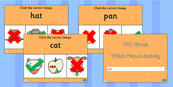 CVC Words Which Picture Activity PowerPoint - CVC games, words