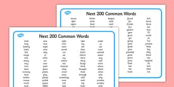 Next 200 Common Words Alphabetical Word Mat - 200, common word, alphabetical, word mat