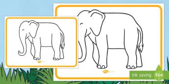 Elephant Large Display Poster - Elephant, animals, jungle, Elmer, David McKee, colour, pattern, Diwali.