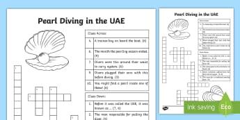 Pearl Diving in the UAE Crossword - oyster, KS2, culture, identity, tradition, economy, income, boat, crew, captain, diver, money, sea,