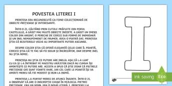 Litera I Poveste - poveste, litere, clasa pregătitoare, alfabet, litera I, povești, clasa I,Romanian