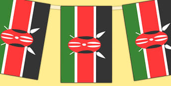 Kenya Flag Display Bunting - countries, geography, flags, kenya