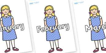 Months of the Year on Goldilocks - Months of the Year, Months poster, Months display, display, poster, frieze, Months, month, January, February, March, April, May, June, July, August, September