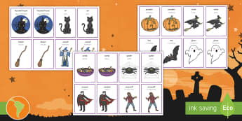 Halloween Pairs Matching Game US English/Spanish (Latin) - Halloween Pairs Matching Game - american, US, comparing, fun activity, KS1, early years, haloween, h