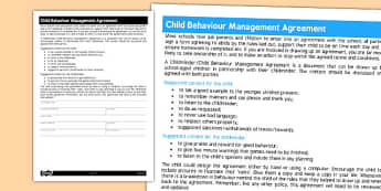 Childminder Child Behaviour Management Agreement - Childminder