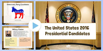 United States 2016 Presidential Candidates Power Point - President, Election, 2016, Candidate, Democrat, Republican, USA, united, states, america