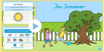 Summer Words PowerPoint - German - PowerPoint, German, Summer, MFL, Game, Languages, Sommer, DAF, DAZ