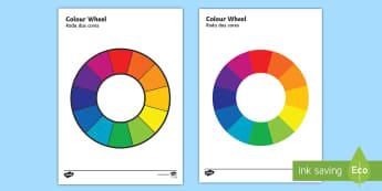 Colour Wheel English/Portuguese - Colour Wheel - colour, colour wheel , spectrum, primary colour, secondary colour, chart, complimenta