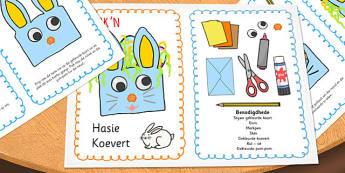 Afrikaans Paashaas Koevert Handwerk Instruksieblad - paashaas, paasfees, koevert, handwerk, instruksies