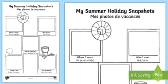Summer Holiday Snapshots Activity English/French - meerkat mail,  transition, writing aid, back to school, new class, summertime, Timw, trasition, bump