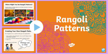 KS1 Rangoli Maths Patterns PowerPoint - symmetry, Rangoli, Rangoli Patterns,Patterns, Reflection, Maths, Numeracy, KS1, Key Stage One, Key S