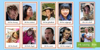 Gefühle Wort- und Bildkarten  - Gefühle, Wie fühlst du dich, DAF, DAZ, Deutsch,German