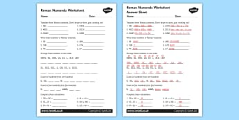Roman Numerals Worksheet - roman, roman numerals, numerals, sheet