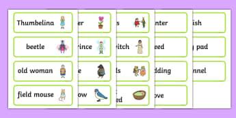 Thumbelina Word Cards - stories, books, visual aid, keywords