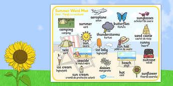 Summer Word Mat Images Romanian Translation - bilingual, sun, beach, language, speech