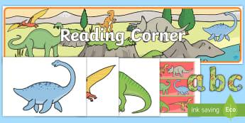 Reading Corner Dinosaur-Themed Display Pack - reading area, book area, book corner, books, reading, library, reading corner, dinosaurs, prehistori