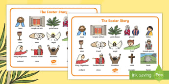 The Easter Story Word Mat - Easter, word mat, writing aid, Easter teaching resource, Easter Jesus, Easter Sunday, Easter, bible, egg, Jesus, cross, Easter Sunday, bunny, chocolate