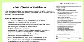 A Code of Conduct for School Governors - code of conduct, school, governors