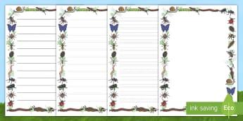 Bordes de página: Los bichos (imágenes detalladas) - libélula, abeja, caracol, hormiga, típula, escarabajo, mariposa, oruga, gusano, mariquita, cochini