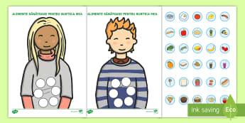 Alimente sănătoase în burtică Activitate - alimentație sănătoasă, igienă, dezvoltare, activități, jocuri,Romanian
