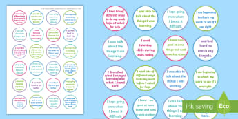 NI Thinking Skills and Personal Capabilities Self Management Stickers - comments, targets, curriculum, marking, statements, Northern Ireland