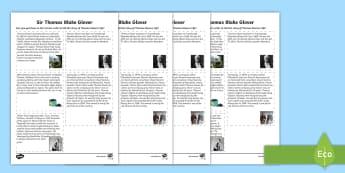 Thomas Blake Glover Sequencing Activity Sheet - Scottish significant individual, Japan, Scotland, Scottish samurai, Aberdeen, Fraserburgh, Nagasaki,