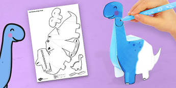 3D Diplodocus Paper Model Activity - paper, model, craft, dinosaur