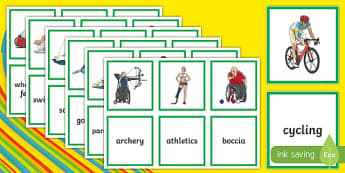 Paralympics Sports Matching Cards - RIO Olympics, olympics, rio, 2016, paralympics, sports, matching cards,, spelling, discussion, activ