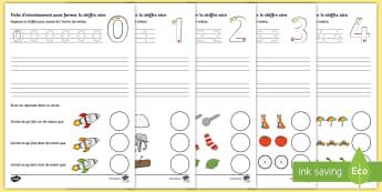 Feuille d'activités : S'entraîner à former les chiffres - Mathématiques, maths, numération, graphisme, cycle 1, cycle 2, numbers,French