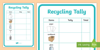 Recycling Tally A4 Display Poster - tidy kiwi, New Zealand, rubbish, recycling, Years 1-6, tally