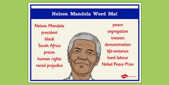 Nelson Mandela Word Mat - nelson mandela, word mat, keywords
