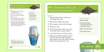 Mini Greenhouse Lab Activity - Earth Day, greenhouses, reduce, reuse, recycle, earth, world, plant, beans, soil, life cycle, scienc