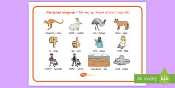 Anangu Aboriginal Language Word Mat - vocabulary, writing, prompt, spelling, animals, australia, translations