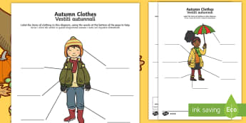 Autumn Clothes Labelling Differentiated Activity Sheet English/Italian  - Autumn, seasons, september, october, topics, ks1, harvest, clothes, clothing, wear, wearing, wore, w