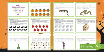Year 3 Halloween Fractions Challenge Cards English/Mandarin Chinese - Halloween, october, festival, autumn, celebration, spooky, ghosts, witch, zombies, challenge cards,