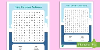 Hans Christian Andersen Word Search - the Emperor's new clothes, the ugly Duckling, thumbelina, author, Poet