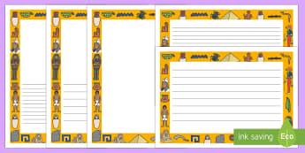 Ancient Egyptian Page Borders - Ancient Egyptian, history, Egyptians, page border, border, writing template, writing aid, writing aid, Egypt, pyramids, hierogliphics, hieroglyphs, Pharaoh, hierogliphics, hieroglyphs, Tutankhamun, Giza, Dahshur, Mummy