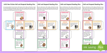 LKS2 Roll and Respond Reading Dice Nets - LKS2 Roll and Respond Reading Dice Nets - games, game, comprehension, understanding, questioning, Y3