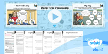 PlanIt Y3 Measurement Lesson Pack Time Vocabulary (1) - vocabulary, measurement, time, o'clock, morning, afternoon, noon, midnight.