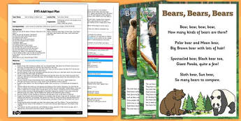 Facts about Bears EYFS Adult Input Plan and Resource Pack - resource