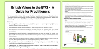 British Values in the EYFS: A Guide for Practitioners - british values, eyfs, guide, practitioners