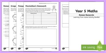 Year 5 Maths: Roman Numerals Activity Booklet - KS2 Maths Working from home activity booklets, Roman numerals, Year 5 Roman numerals, Year 5 maths